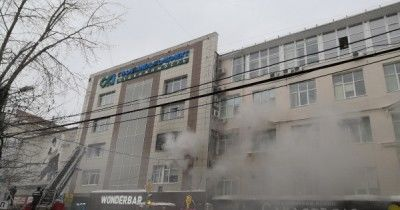 В центре Перми загорелся бизнес-центр