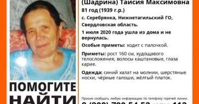 В селе под Нижним Тагилом пропала пенсионерка