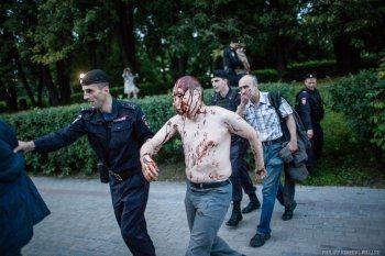 В Москве на «марше ватников» задержан мужчина в маске Путина