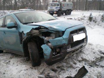 На «трассе смерти» столкнулись два автомобиля Mitsubishi