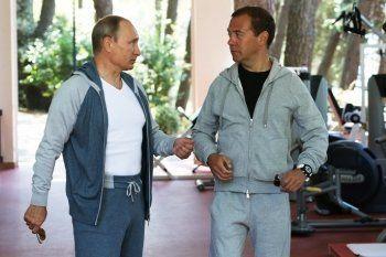 Путин пришёл на завтрак с Медведевым в итальянском спорткостюме за 200 тысяч рублей