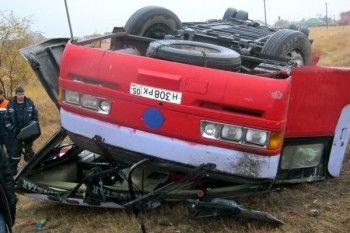 В Ростовской области опрокинулся пассажирский автобус