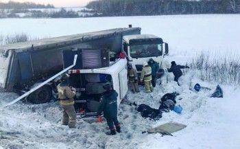 Девять человек погибли в аварии с микроавтобусом и фурой в Башкирии