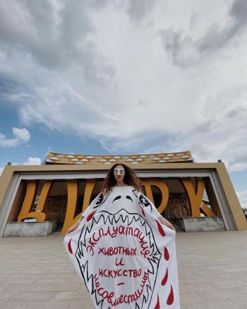 Художница Алиса Горшенина провела одиночный пикет возле Нижнетагильского цирка
