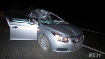На трассе Екатеринбург - Каменск-Уральский Chevrolet столкнулся с лосем, есть погибшие