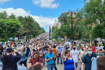В Хабаровске прошёл очередной массовый митинг в поддержку арестованного губернатора Фургала
